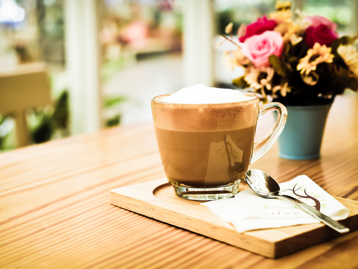 Coffee in Wood table